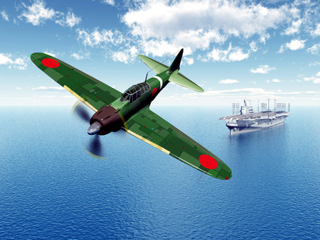 aircraft bomber: Japanese Fighter Bomber and Japanese Aircraft Carrier from the second world war