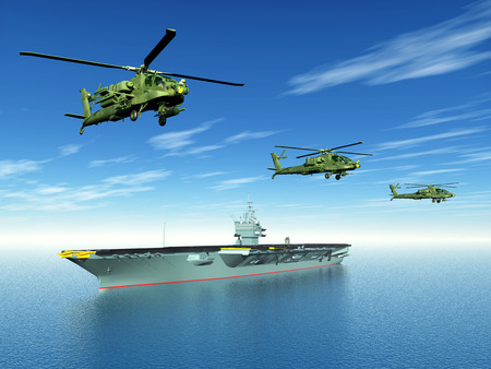 Apache Helicopters and Aircraft Carrier photo