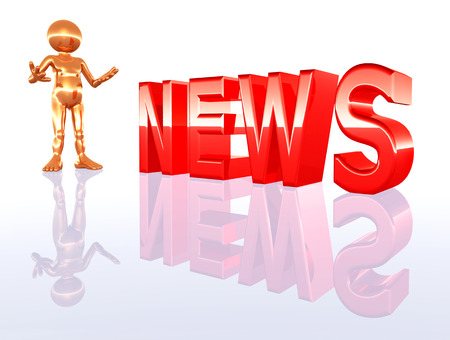 newscaster: Figure and the word NEWS