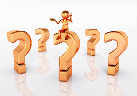the thinker: Question Marks with Thinker Stock Photo