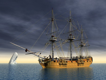 sperm whale: White Whale and Sailing Ship
