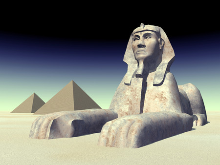 the sphinx: Egyptian Sphinx and Pyramids Stock Photo