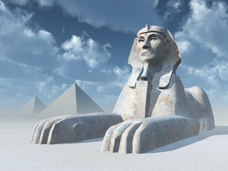 esfinge: Esfinge de Egipto y las pirámides Foto de archivo