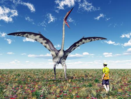 pterosaur: The Pterosaur Quetzalcoatlus and a Tourist
