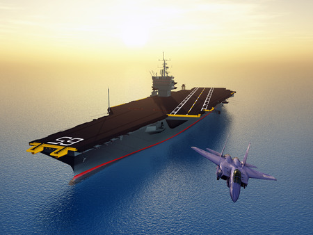Aircraft Carrier and Combat Aircraft