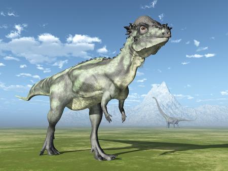 steppe: Dinosaur Pachycephalosaurus Stock Photo