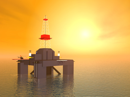 natural gas production: Oil Platform at Sunset