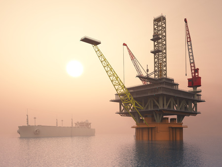 sun oil: Oil Platform and Supertanker Stock Photo