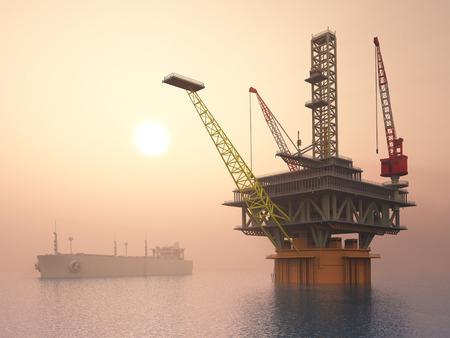torre de perforacion petrolera: Plataforma petrolera y Superpetrolero Foto de archivo