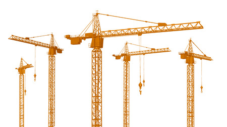 building site: Construction Cranes isolated on white background Stock Photo