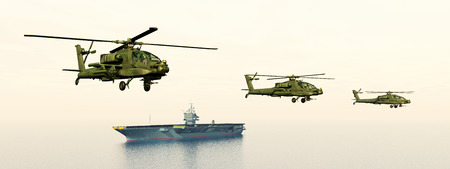 armament: Apache Helicopters and Aircraft Carrier