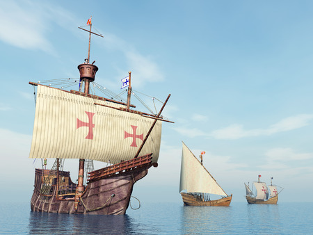 caravelle: Santa Maria, Nina et Pinta de Christophe Colomb Banque d'images