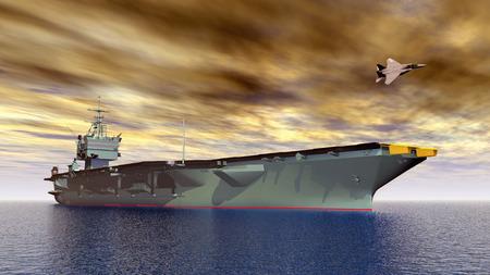 Vliegdekschip en gevechtsvliegtuig