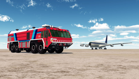 Airport Fire Truck and Airliner