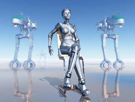 reflection of life: Female Robot on a Robot Planet