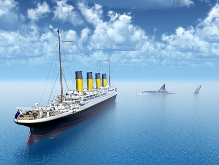 ocean liner: Ocean Liner and the Megalodon Shark