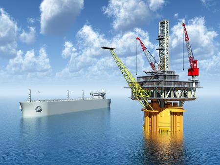 Supertanker en Oil Platform