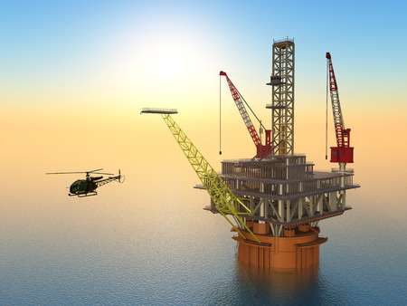 natural gas production: Oil Platform and Helicopter
