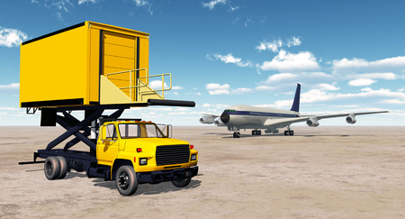 airliner: Airport catering truck and airliner