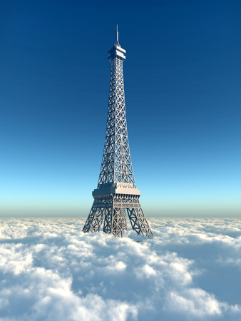 above: Eiffel tower above the clouds Stock Photo
