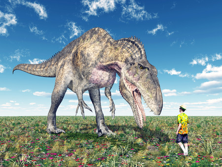 Reckless tourist and the dinosaur Acrocanthosaurus Stock Photo