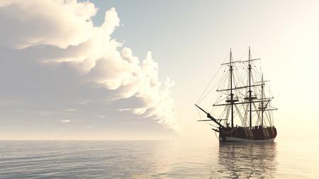 Sailing ship at anchor Stock Photo