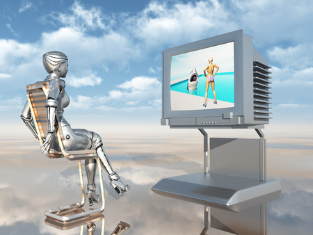 swimming pool home: Female robot watching TV Stock Photo