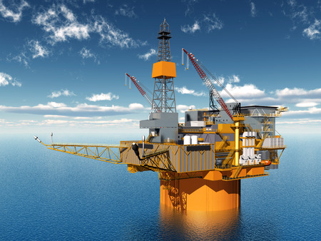 petroleum blue: Oil Platform Stock Photo