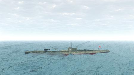 ww2: Japanese submarine of WW2 Stock Photo