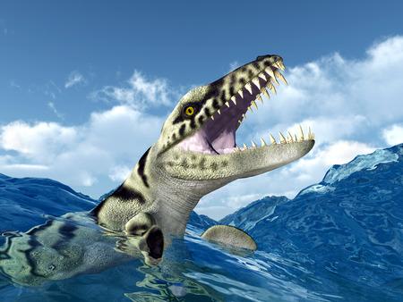 Dakosaurus in the stormy ocean photo