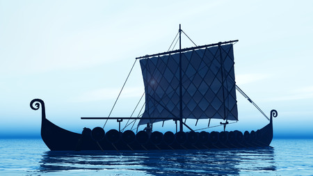 vikingo: Vikingo barco en la madrugada