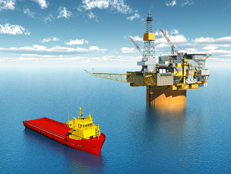 natural gas production: Platform Supply Vessel and Oil Platform Stock Photo