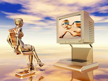 futuristic woman: Female robot watching TV Stock Photo
