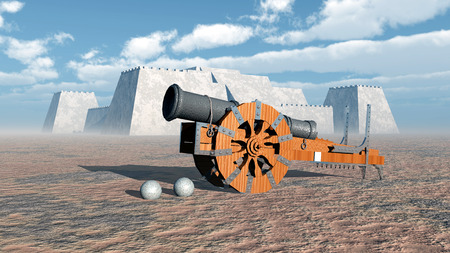 fortification: Medieval cannon and fortress Stock Photo