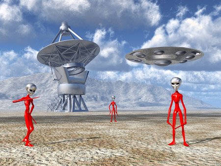 alien landscape: Aliens on Earth discover a giant telescope Stock Photo
