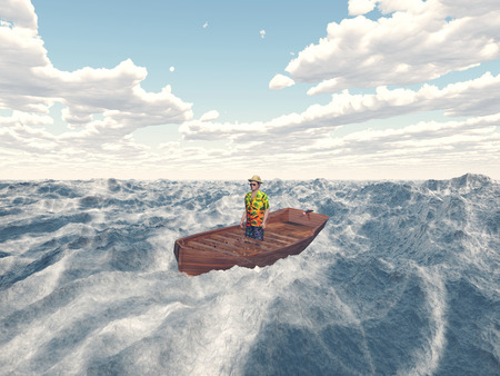 cloud drift: Man in a boat Stock Photo