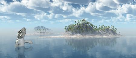 Ocean landscape with the prehistoric crocodile Dakosaurus photo