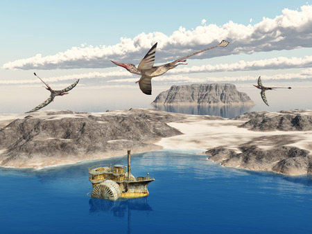 paleontology: Ocean landscape with steamboat and the pterosaur Rhamphorhynchus