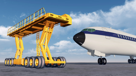 airliner: Airport loader and airliner Stock Photo