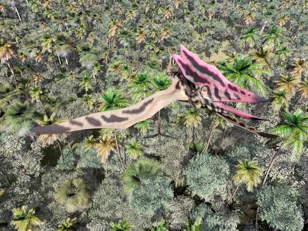 pterosaur: Pterosaur Thalassodromeus over the jungle