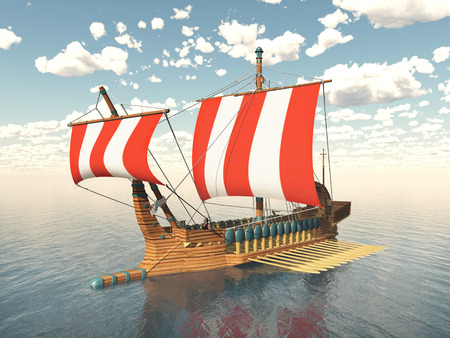 3d sail boat: Galley from ancient greece Stock Photo