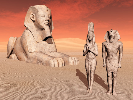 the sphinx: Egyptian sphinx and statues Stock Photo