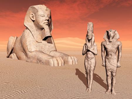 esfinge: Esfinge egipcia y estatuas