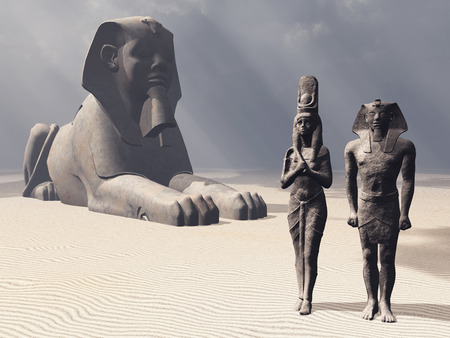 Sphinx: Egyptian sphinx and statues Stock Photo