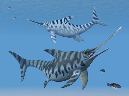 prehistoric fish: Ichthyosaur Eurhinosaurus Stock Photo