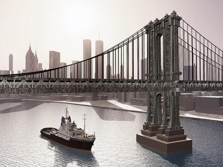 ニューヨーク市のマンハッタン橋 写真素材