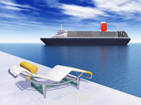 cruise ship: Cruise ship and deck chair Stock Photo