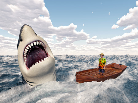 white shark: Man in a boat and great white shark