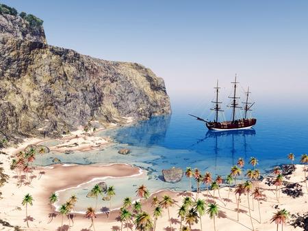 sailing ship: Sailing ship at anchor Stock Photo