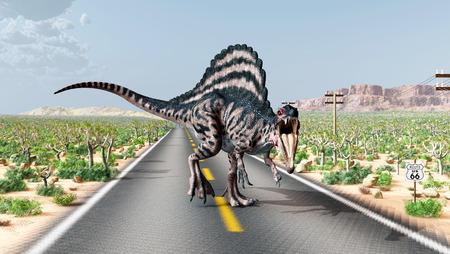 Route 66 in de VS met de dinosaurus Spinosaurus
